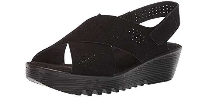 Skechers Women's Petite Parallel - Wide Width Slingback Wedge Sandal