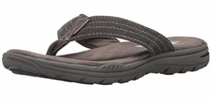 Skechers Men's Evented Rosen - Flip Flop Style Orthopedic Comfort Walking Sandals