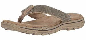 Skechers Men's Evented Rosen - Flip Flop Style Orthopedic Comfort Walking Sandals