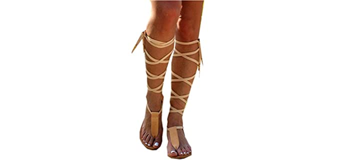 Sweet Nice Women Shoes Women's Summer Strappy - Knee High Leather Gladiator Sandal