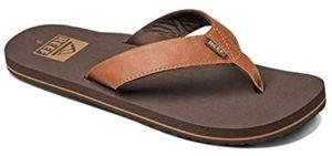 REEF Men's TwinPin - Leather Flip Flops
