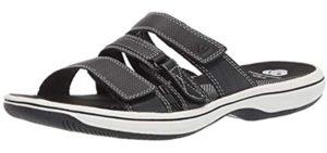 Clarks Women's Brinkley Coast - Slide Sandal for Knee Pain