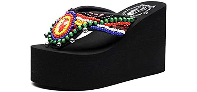Mamilove Women's Chunky - High Platform Flip Flop Sandal