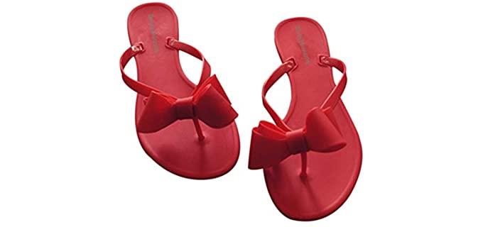 Shoe N Tale Women's Ribbon - Bow Top Flip Flop