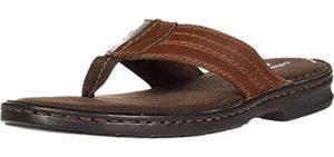 Clarks Men's Malone - Leather Flip Flops for Plantar Fasciitis