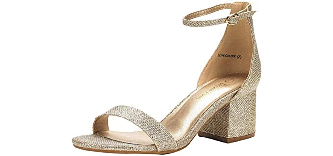 Dream Pairs Women's Chunky Heel - Wedding Pump Sandals
