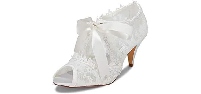 Jiajia Women's Peep Toe Cone Heel - Bridal Sandals for Weddings