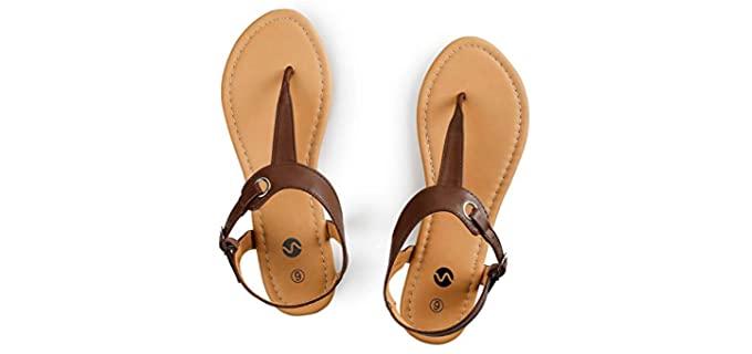 Rekayla Women's T-Strap - Flat Thong Sandals for Summer