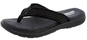 Skechers Men's Evented Arven - Memory Foam Flip Flop Sandal