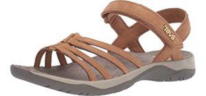 Teva Women's Elzada Lea - Leather Casual Flat Feet Sandals