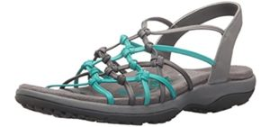 Skechers Women's Reggae Slim Forget Knotted - Closed Style Sandal for hammer Toes