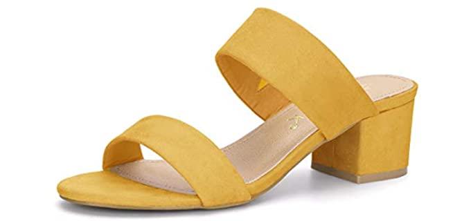 Allegra K Women's Dual Strap - Block Heel Sandals