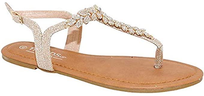 Trendsup Collection Women's T-Strap - Flat Wedding Sandals