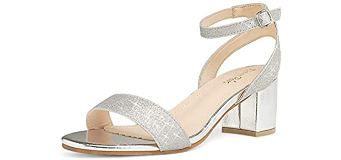 Dream Pairs Women's Open Toe - Sandals with a Block Heel