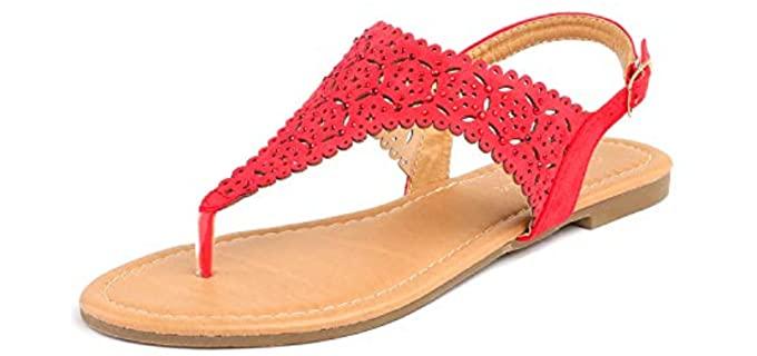 Dream pairs Women's Rhinestone - Low Block Heel Sandals