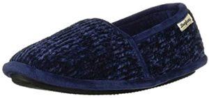 Dearfoams Women's Chenille - Cracked Heels Slippers