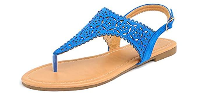 Dream pairs Women's Rhinestone - T-Strap Low Block Heel Sandals