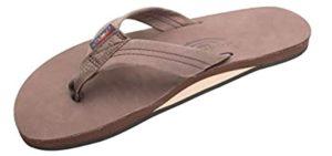 Ranbow Men's Leather - Flip Flops for Narrow Feet