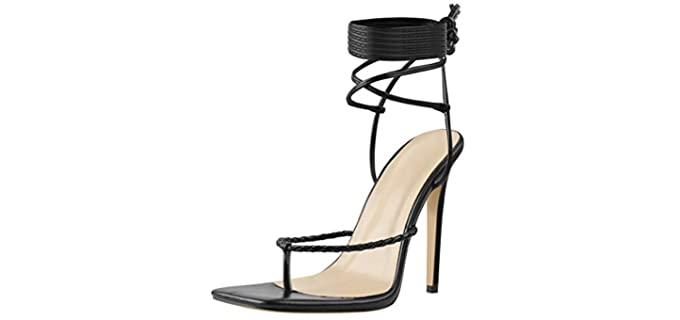 Lishan Women's Square Toe - High Heel Flip Flops