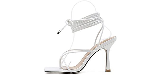 Isnom Women's Gladiator - High Heel Flip Flops