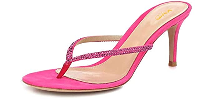 XYD Women's Fashion - Mid High Heel Flip Flops